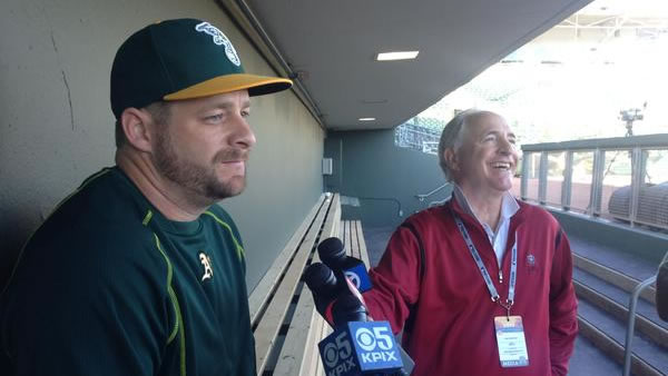"<div class=""meta image-caption""><div class=""origin-logo origin-image kgo""><span>KGO</span></div><span class=""caption-text"">ABC7 Sports Anchor Mike Shumann catches up with A's catcher Stephen Vogt at Spring Training in Scottsdale, Arizona on Wednesday, Feb. 25, 2015. (ABC7 News/Mike Shumann)</span></div>"