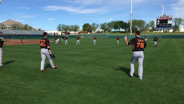 """<div class=""""meta image-caption""""><div class=""""origin-logo origin-image kgo""""><span>KGO</span></div><span class=""""caption-text"""">The boys of summer are loosening up for Spring Training in Scottsdale, Arizona on Tuesday, Feb. 24, 2015. (ABC7 News/Mike Shumann)</span></div>"""