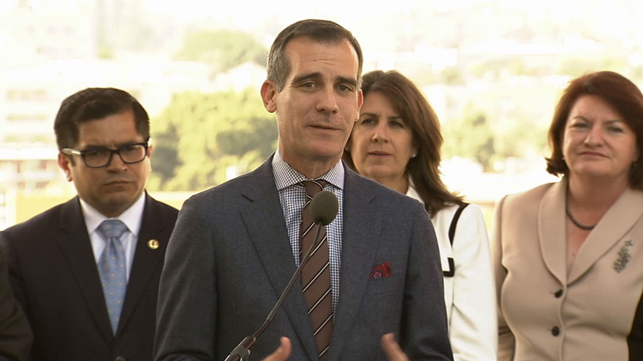 Assembly Speaker Toni Atkins, joined by Los Angeles Mayor Eric Garcetti and Assemblymember Jimmy Gomez, announced a proposal Wednesday to expand affordable housing.