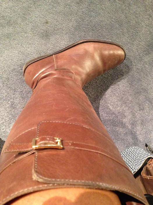 """<div class=""""meta image-caption""""><div class=""""origin-logo origin-image none""""><span>none</span></div><span class=""""caption-text"""">Do you think these boots count as Rodeo ready for Samica? (KTRK Photo)</span></div>"""