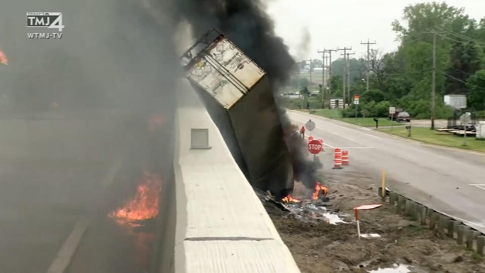 2 dead in fiery semi crash, explosion on I-94 in Racine Co