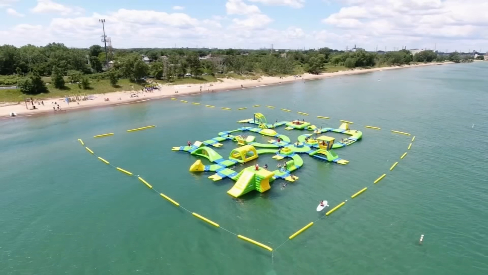Floating Water Park On Lake Michigan In