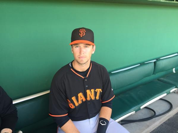"""<div class=""""meta image-caption""""><div class=""""origin-logo origin-image kgo""""><span>KGO</span></div><span class=""""caption-text"""">The new face of the MLB, Buster Posey, at Giants Spring Training 2015 in Scottsdale, Arizona on Thursday, Feb. 26, 2015. (ABC7 News/Mike Shumann)</span></div>"""