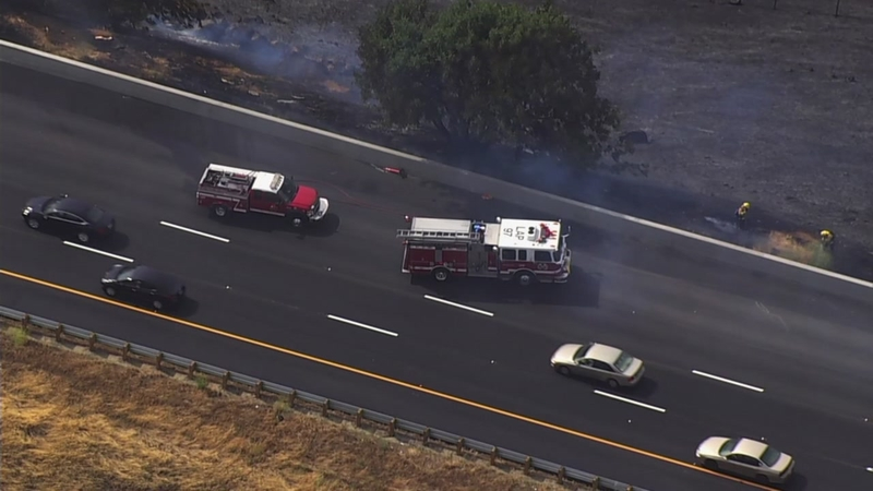 Westbound I-580 over Altamont Pass now open after brush fire