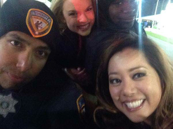 """<div class=""""meta image-caption""""><div class=""""origin-logo origin-image none""""><span>none</span></div><span class=""""caption-text"""">Angela Chen riding the golf cart with some HPD officers (KTRK Photo)</span></div>"""