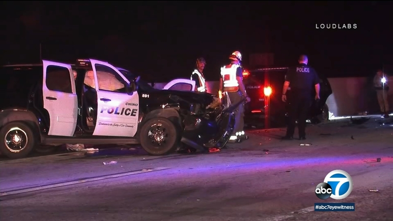 Police chase ends in officer-involved crash in Chino