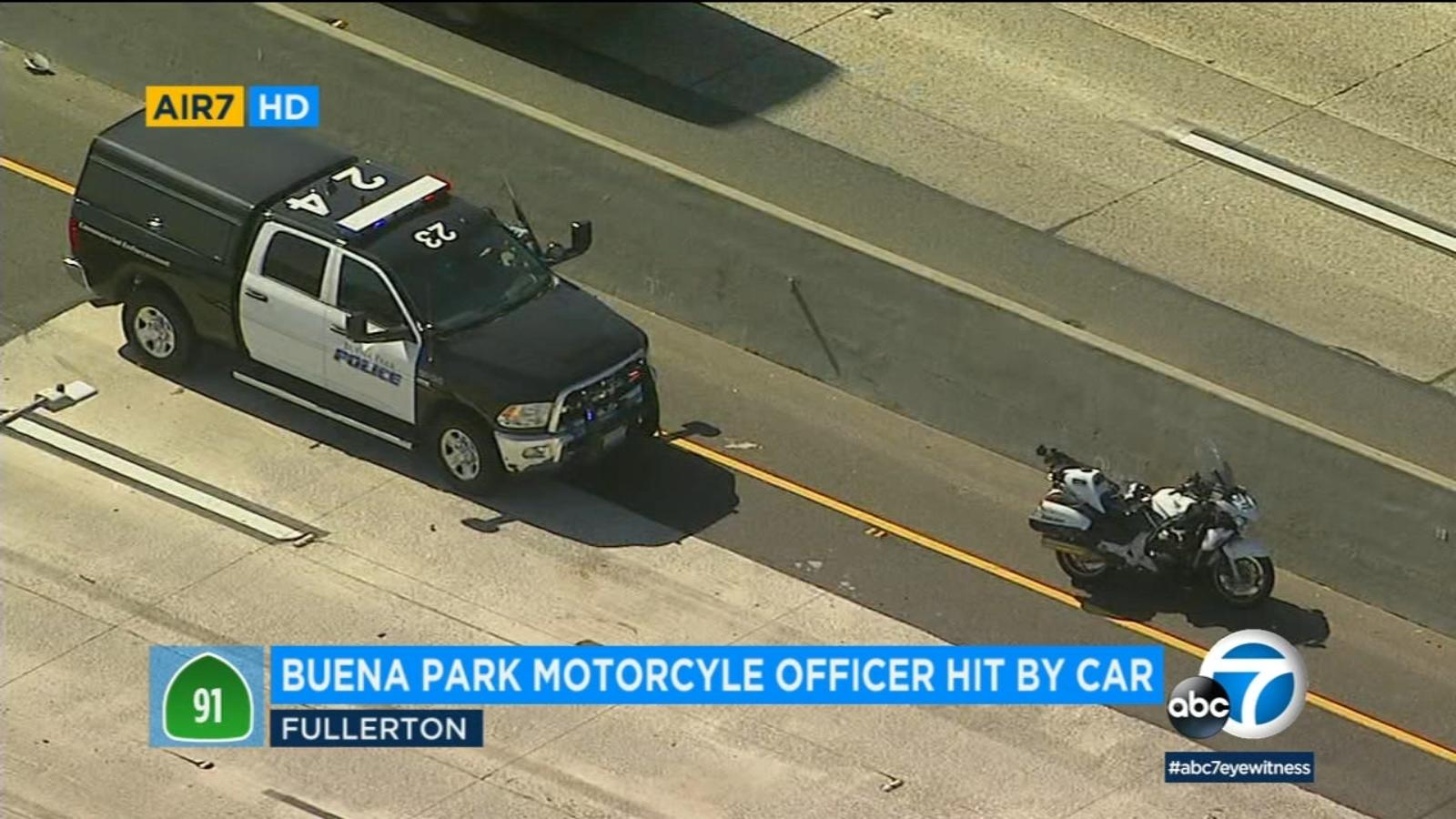 Buena Park police motorcycle officer injured in crash on 91 Freeway