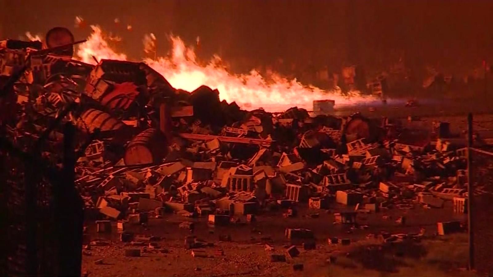 Fire burns Kentucky Jim Beam warehouse with about 45,000 barrels of bourbon inside