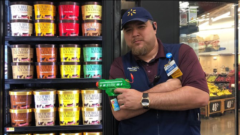 Texas Walmart has 'armed' employee guarding Blue Bell ice cream
