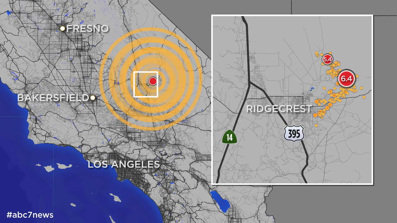 Map shows hundreds of aftershocks from SoCal quake on