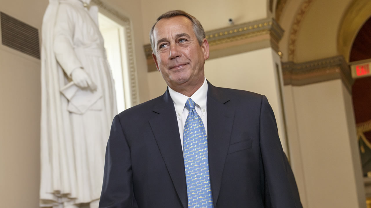 House Speaker John Boehner of Ohio walks to the House chamber on Capitol Hill in Washington, Friday, Feb. 27, 2015