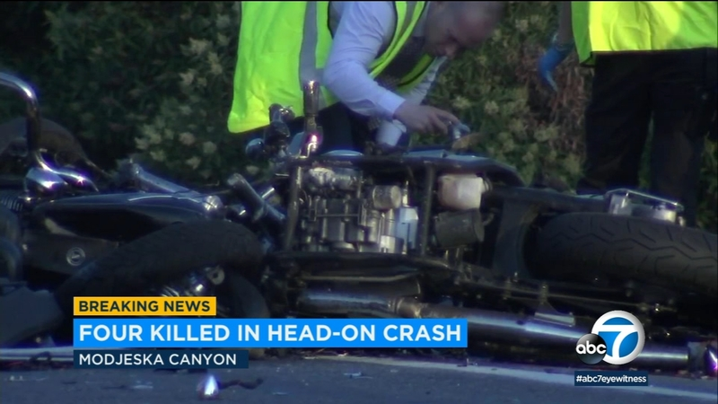 4 killed in motorcycle collision in OC's Modjeska Canyon