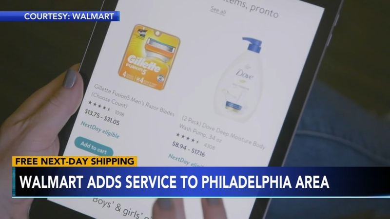 Walmart free one-day shipping available in Philadelphia