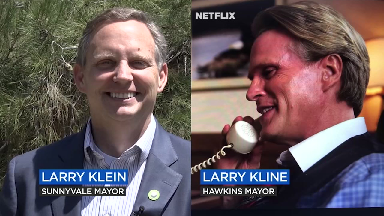 Sunnyvale Larry Klein with his name twin Hawkins Mayor Larry Kline from the Netflix Original Stranger Things 3.