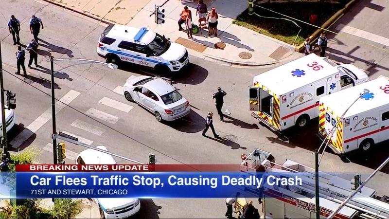 1 dead, 5 injured in Englewood crash caused by car fleeing traffic stop