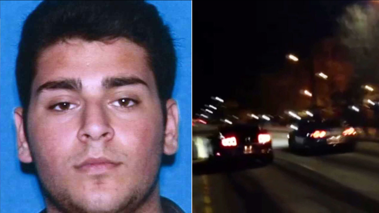 Henry Gevorgyan, 21, is shown in this DMV file photo (left). The scene of a street-racing event near Plummer Street and Canoga Avenue in Chatsworth (right).