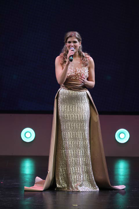 """<div class=""""meta image-caption""""><div class=""""origin-logo origin-image none""""><span>none</span></div><span class=""""caption-text"""">The 22-year-old Schlucter, who is a senior at Fordham University, sang """"Top of My Lungs"""" for her talent competition. (WPVI Photo)</span></div>"""