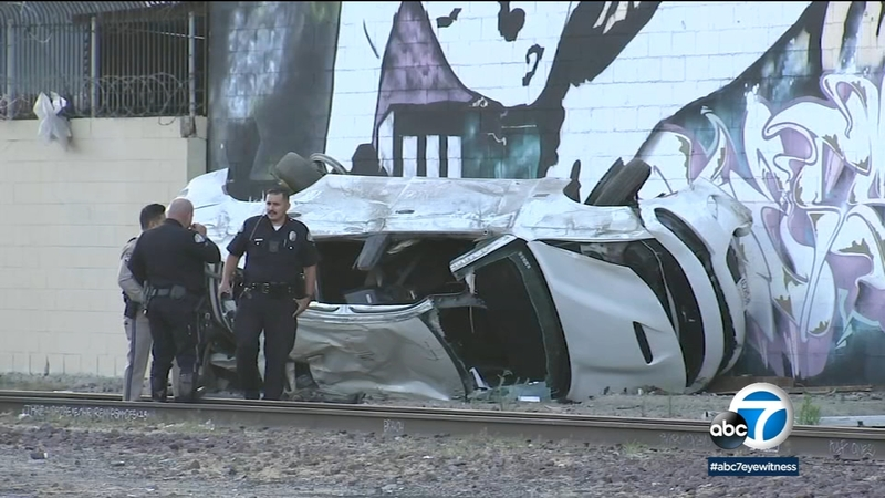 4 injured after chase ends in crash in South L A
