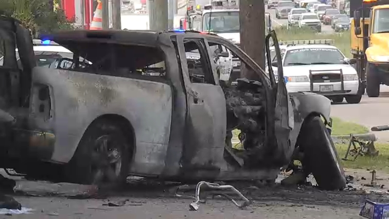 Driver killed when pickup crashes and bursts into flames on North Fwy