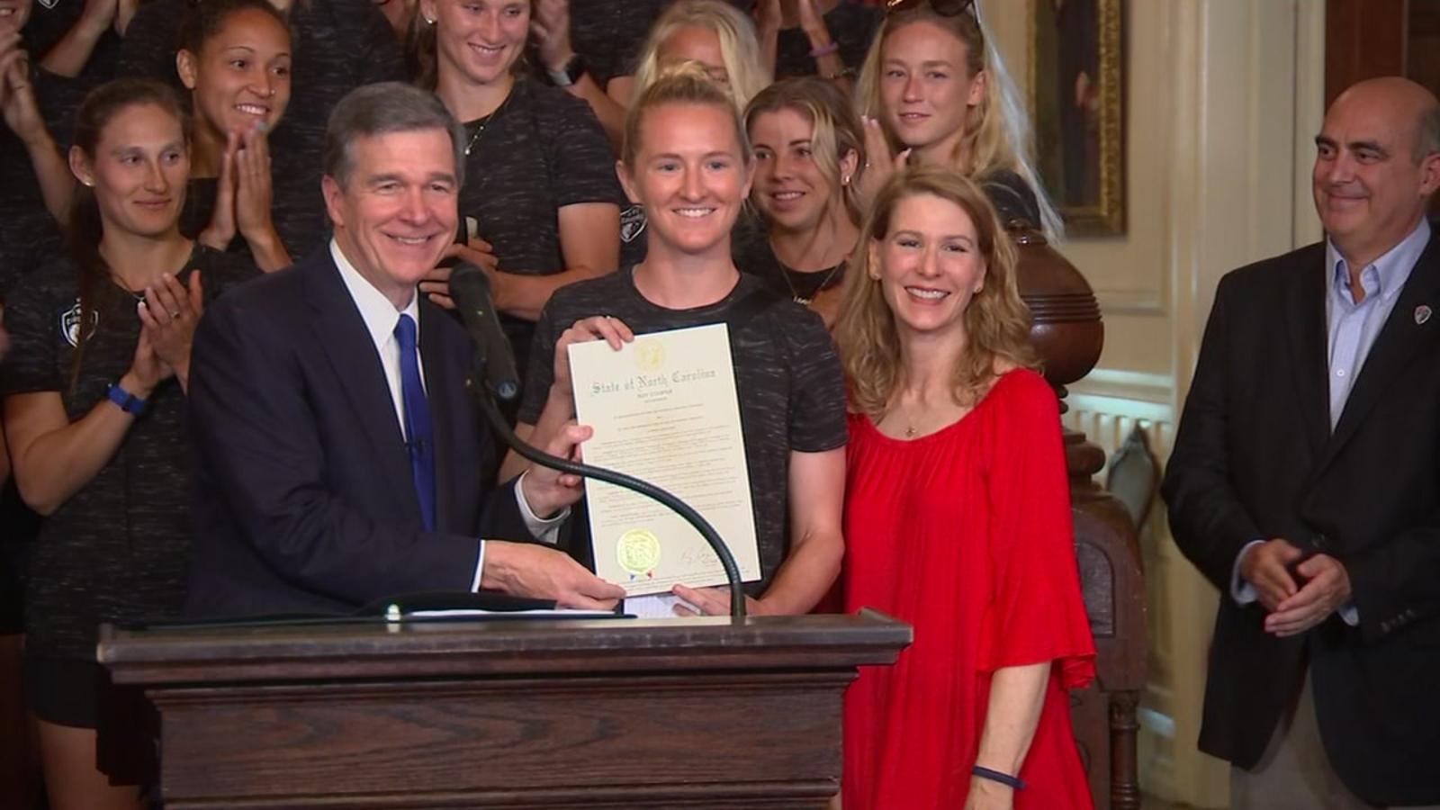 NC Courage recognized by Gov. Roy Cooper at NC Executive Mansion