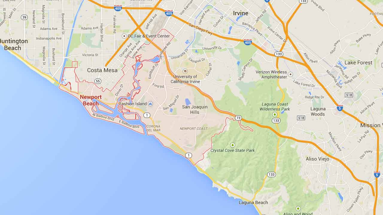 This Google Maps image shows the city of Newport Beach.