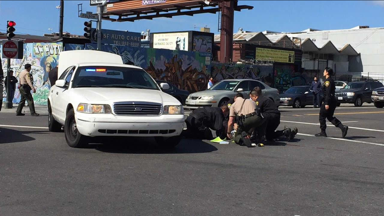A bicyclist was hit by a vehicle in San Francisco's Mission District on March 2, 2015.