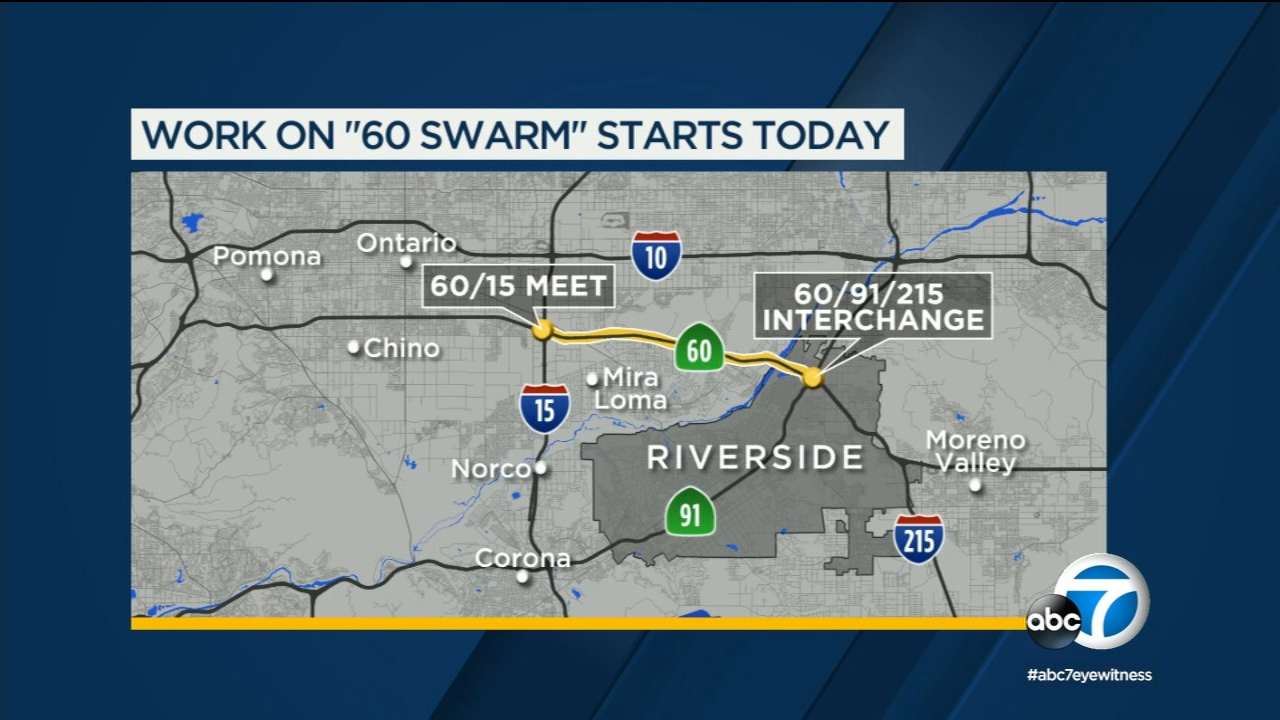 Map 60.60 Swarm To Cause Weekend Headaches For Ie Drivers As Caltrans