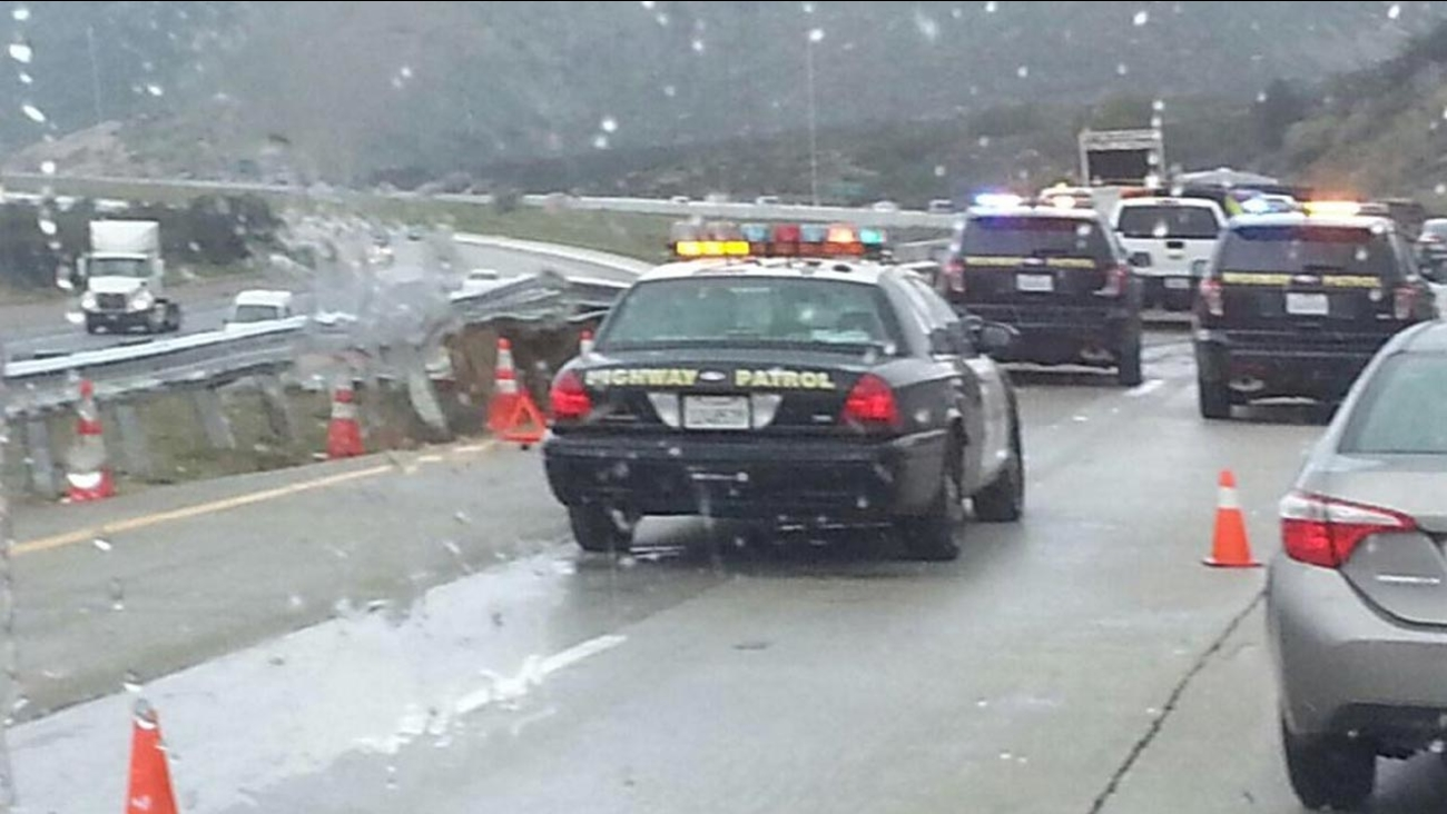 One lane on the northbound 15 Freeway was shut down Monday, March 2, 2015 because a semi-truck crash damaged a bridge rail.