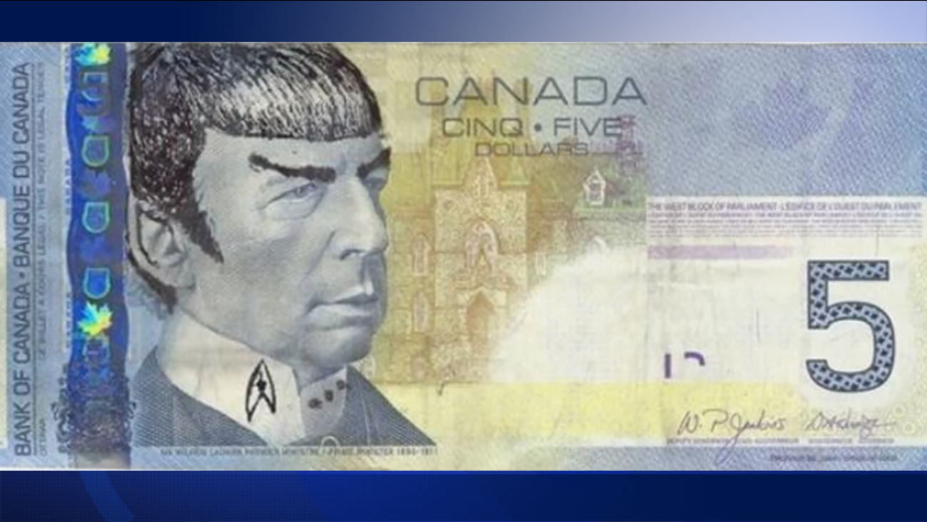 """""""Star Trek"""" fans in Canada are """"Spocking"""" their $5 bills to pay tribute to the late Leonard Nimoy."""