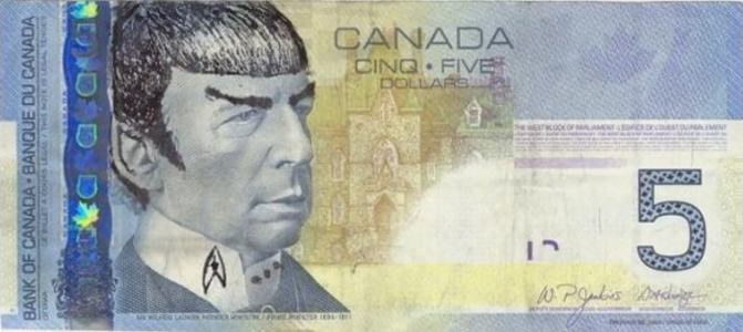 """Star Trek"" fans in Canada are ""Spocking"" their $5 bills to pay tribute to the late Leonard Nimoy."