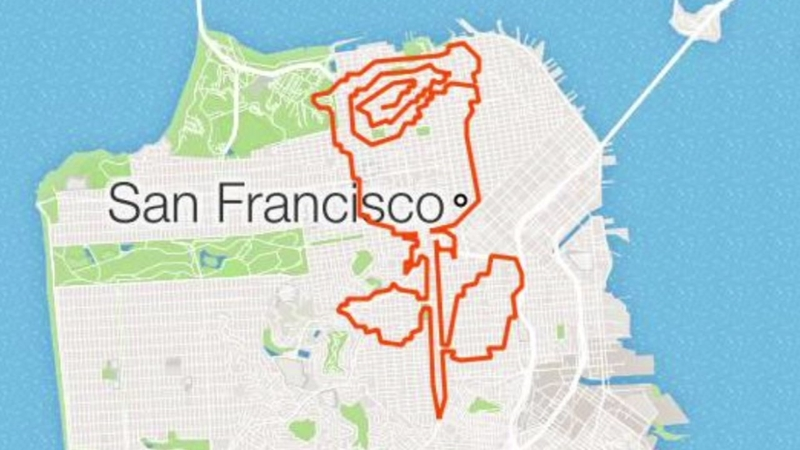 San Francisco Man Maps Out Insane Designs On His Running ... on machine for running, headlights for running, diagrams for running, events for running, illustrations for running, graphs for running,