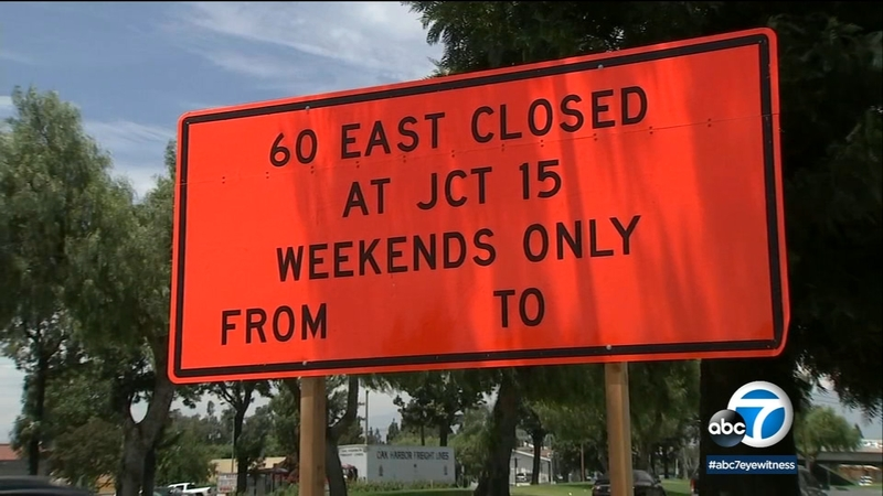Caltrans says weekend construction on I-60 in I E  will cause traffic delays
