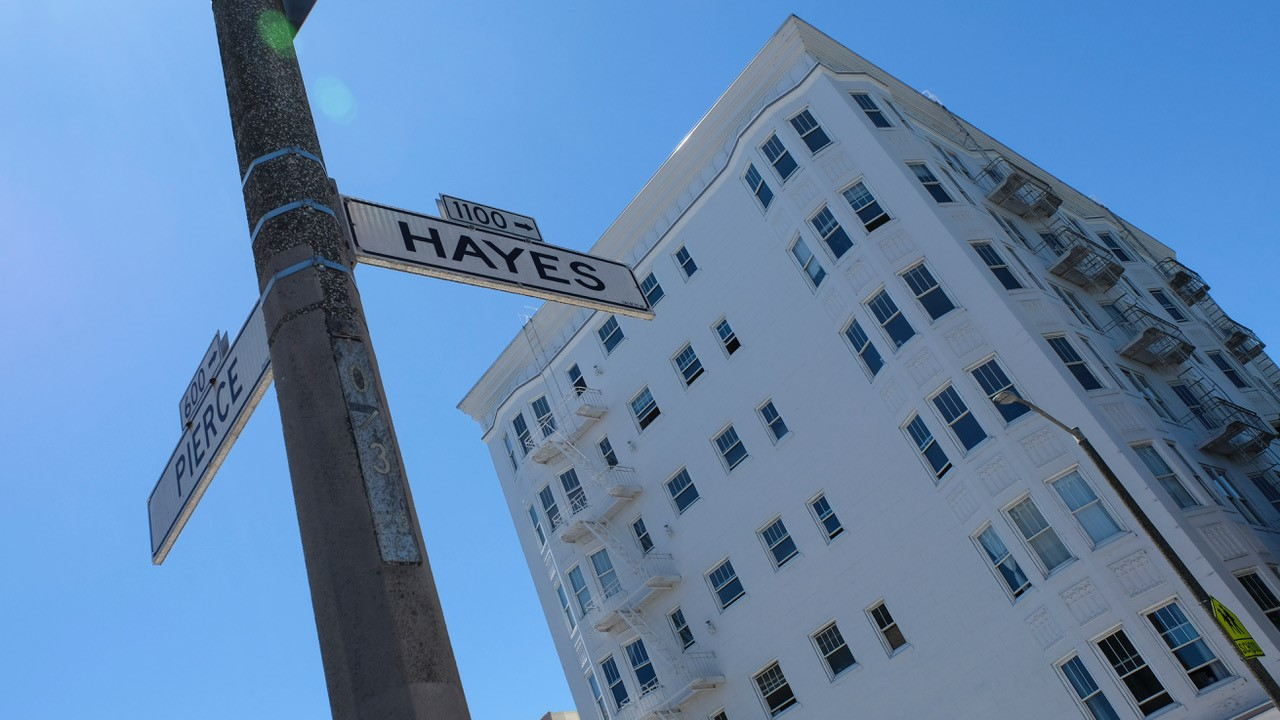 Signs for Pierce and Hayes streets are seen in San Francisco.