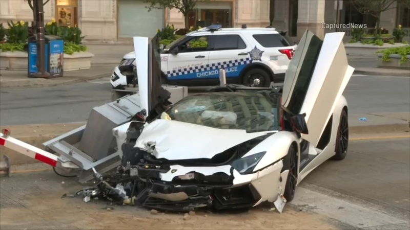 Lamborghini collides with CPD vehicle on Near North Side