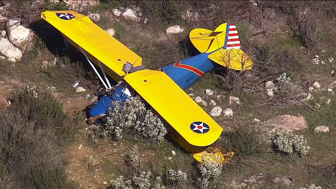A biplane crashed into the Santa Ana River Wash, just west of Florida Street, in Redlands Tuesday, March 3, 2015.