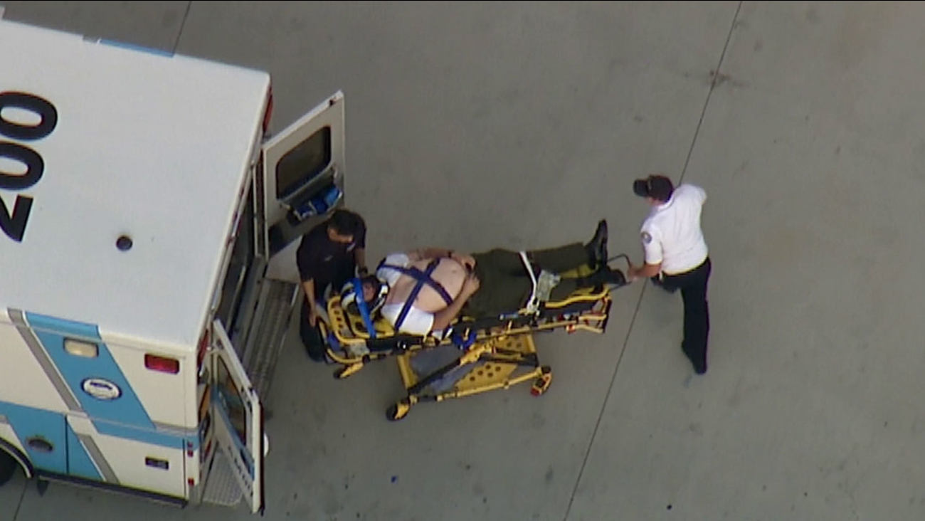 A Los Angeles County sheriff's motorcycle deputy was transported to UCI Medical Center in Orange following a crash in Norwalk Tuesday, March 3, 2015.