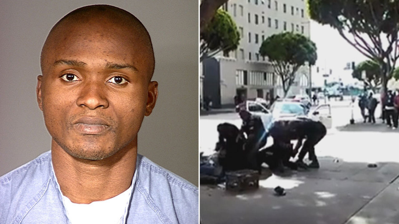 The man known to authorities as Charly Robinet is seen in a booking photo from 2000 (left). Robinet was killed in an officer-involved shooting in Skid Row March 1, 2015 (right).