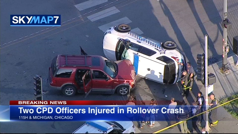 2 officers injured in South Side rollover crash