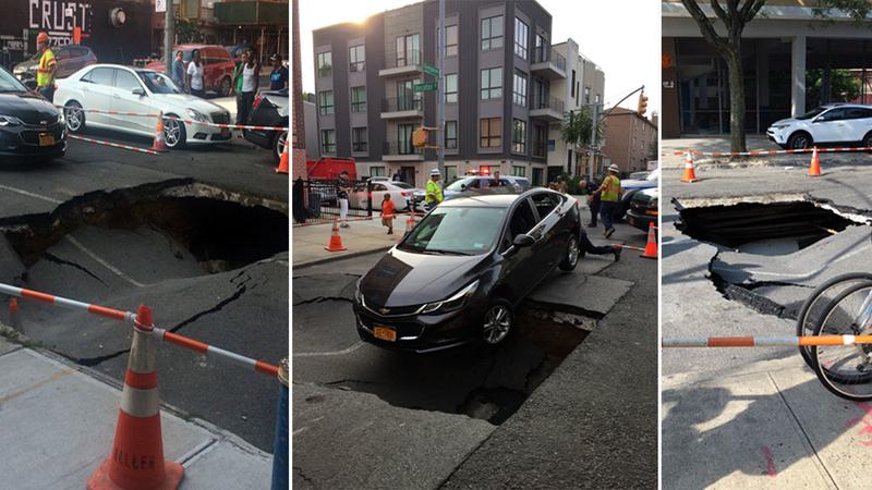 Bushwick Car Service >> Large Sinkhole Opens In Bushwick Brooklyn Nearly Swallowing Car