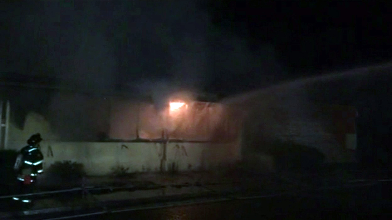 A three-alarm fire was put out at a former school district office in Vallejo.