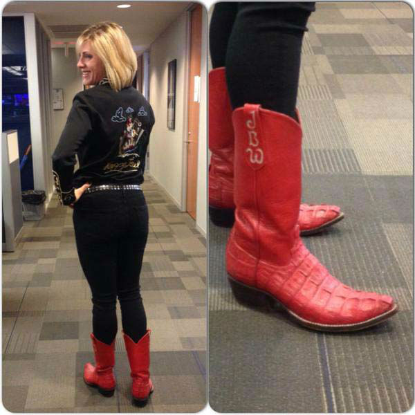 """<div class=""""meta image-caption""""><div class=""""origin-logo origin-image none""""><span>none</span></div><span class=""""caption-text"""">Jessica Willey is Rodeo ready with her red boots! (KTRK Photo)</span></div>"""