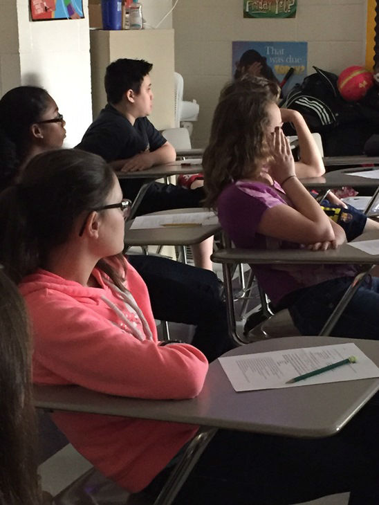 """<div class=""""meta image-caption""""><div class=""""origin-logo origin-image none""""><span>none</span></div><span class=""""caption-text"""">Fayetteville police officers teach gun violence awareness to 7th graders at John Griffin Middle School. (WTVD Photo/Lou Guilette)</span></div>"""