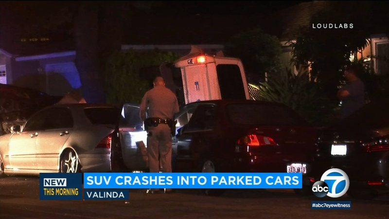 SUV crashes into multiple parked cars in Valinda