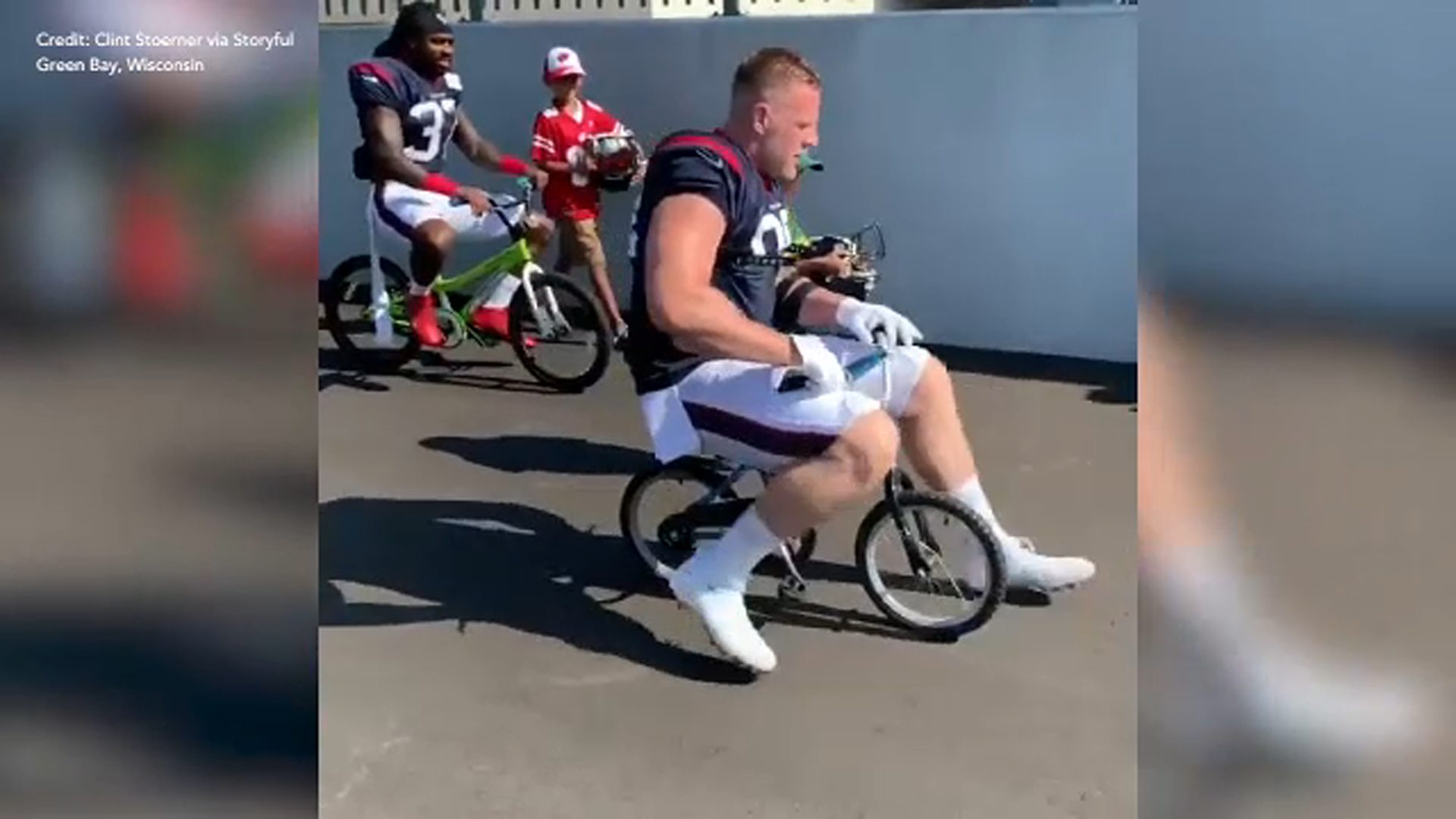 Oops Nfl Star J J Watt Breaks Kid S Bike In Green Bay 6abc Philadelphia
