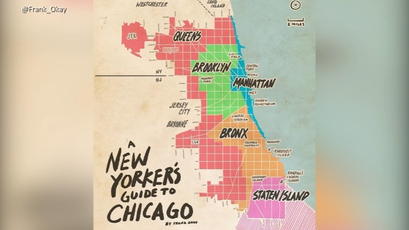 Artist's rendition of 'A New Yorker's Guide to Chicago' on map miami to new york, map from chicago to toronto, map oklahoma to new york, map from chicago to omaha, map dc to new york, map from chicago to paris, map from chicago to mississippi, map from chicago to beijing, map from chicago to florida, map from chicago to mt rushmore, map la to new york, map from chicago to puerto rico, map atlanta to new york, map from chicago to yellowstone,
