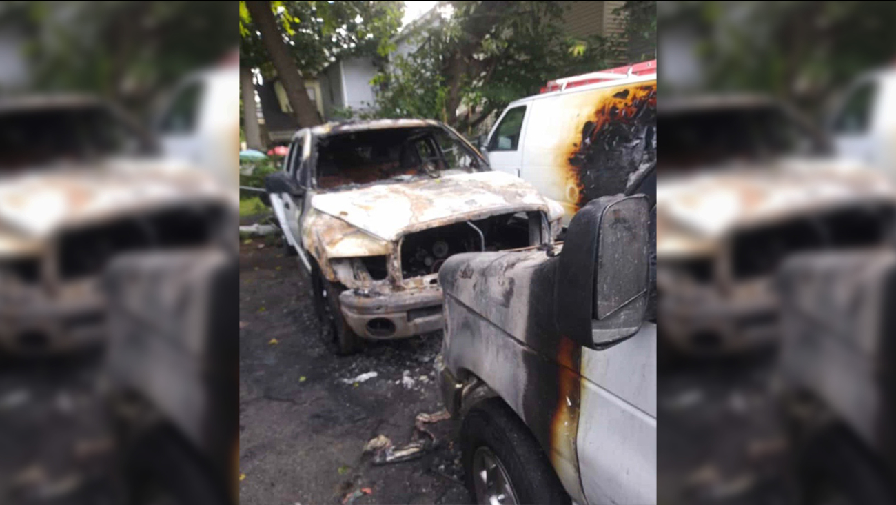 Paterson, New Jersey company says arsonists set fire to 4 vehicles