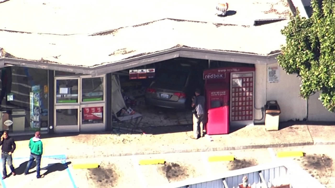 Police say an elderly woman crashed into a 7-Eleven in Oakland, Calif. on March 4, 2015.