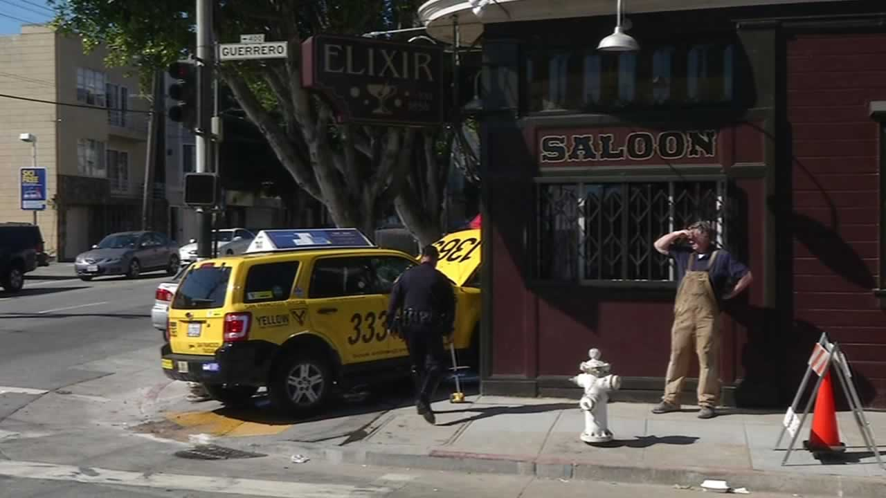A taxi that collided with an Uber vehicle crashed into the Elixir saloon at the intersection of 16th and Guerrero streets in San Francisco.
