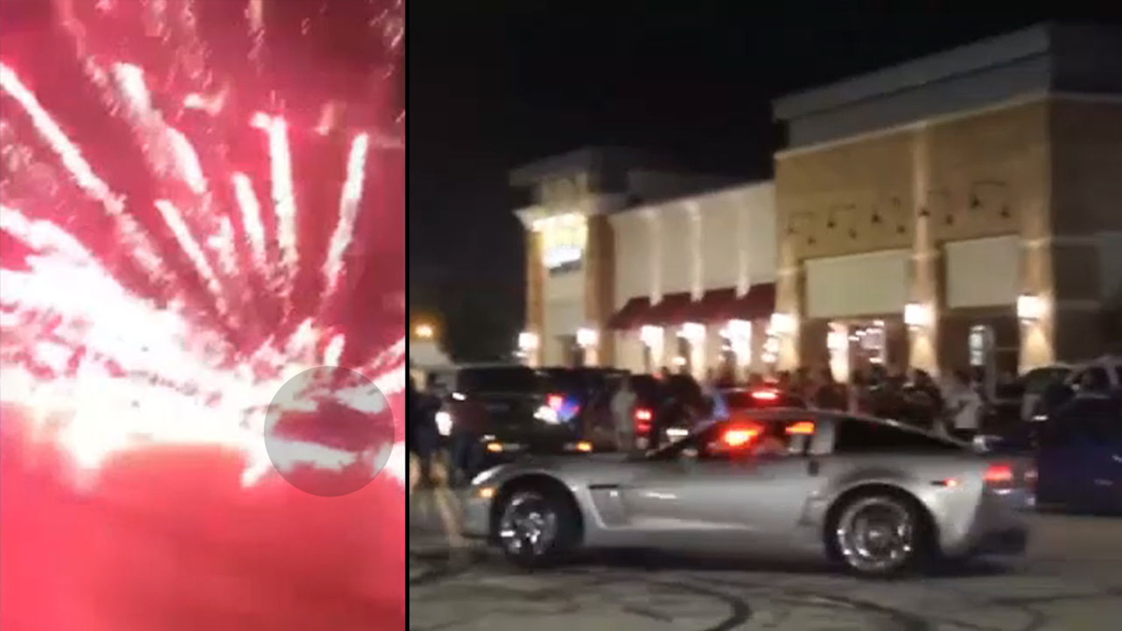 Dozens Take Over Intersection With Car Stunts And Fireworks