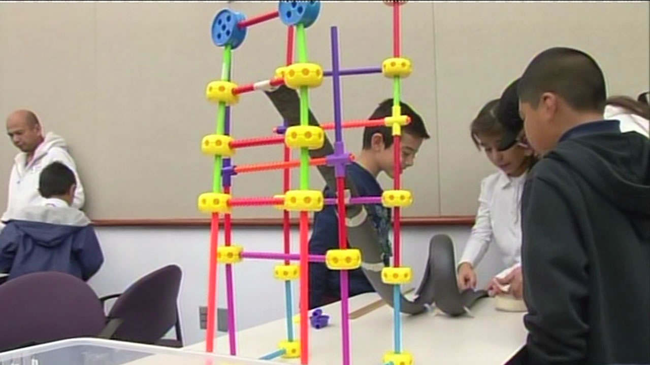 Students building a roller coaster at the Tech Museum in San Jose.